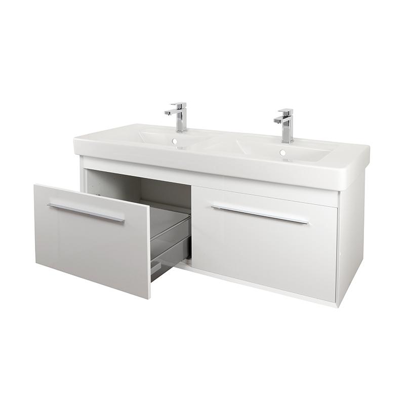 Simple 130cm Double Basin Vanity Unit Abacus Bathrooms